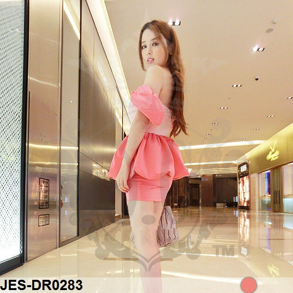 JES-DR0283 sexy pink peplum dress