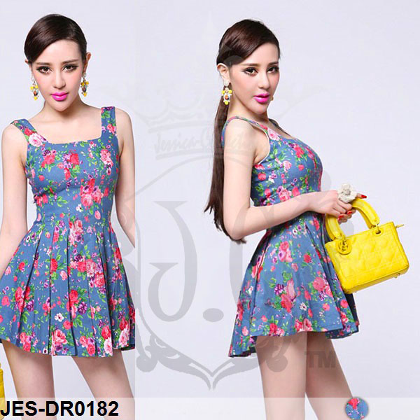 JES-DR0182 sexy flower korean dress