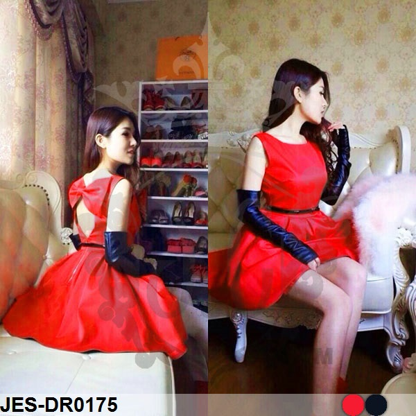 JES-DR0175 sexy dress backless bow