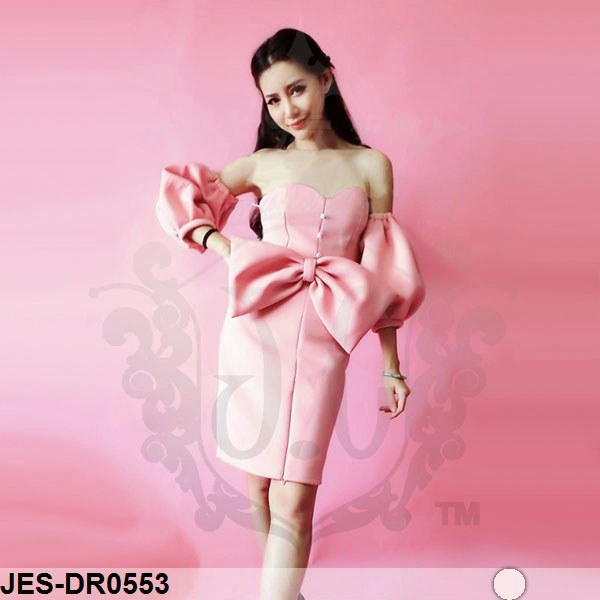 JES-DR0553 sabrina pink bow dress