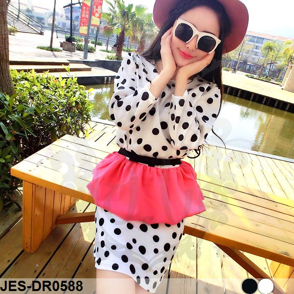 JES-DR0588 sexy polkadots peplum dress