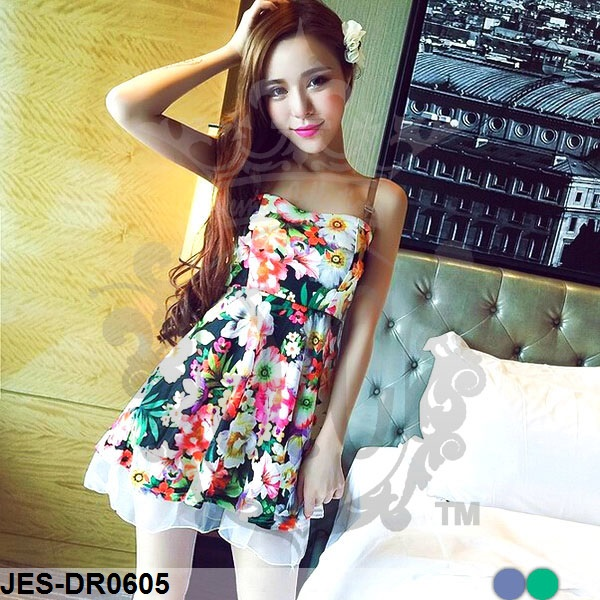 JES-DR0605 korean flower sexy dress