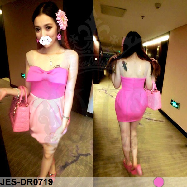 JES-DR0719 sexy bow pink dress