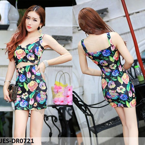 JES-DR0721 sexy bodycon flowers dress