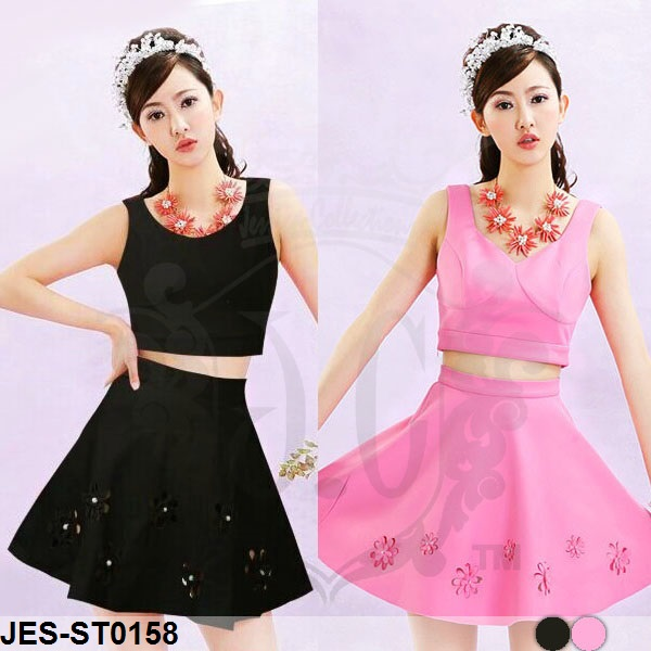 JES-ST0158 crop top with skirt