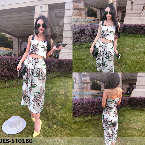 JES-ST0180 flower cropped top pants