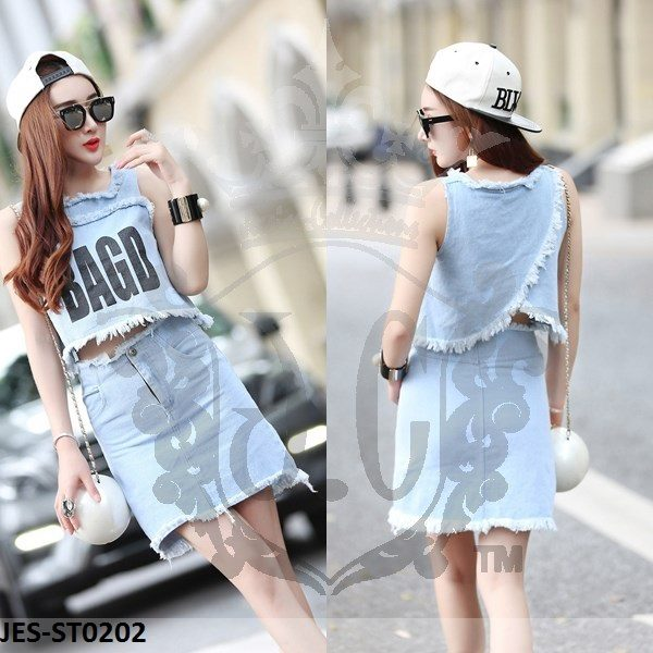JES-ST0202 denim blouse skirt korea