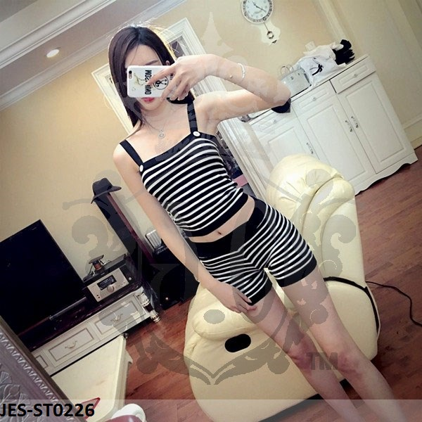 JES-ST0226 knitted tanktop with hotpants