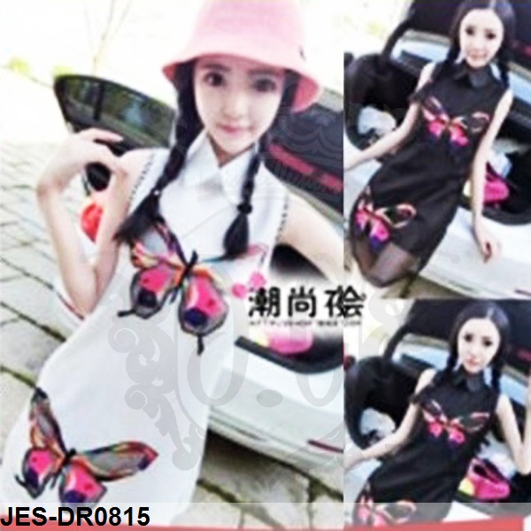 JES-DR0815 butterfly chinese dress import