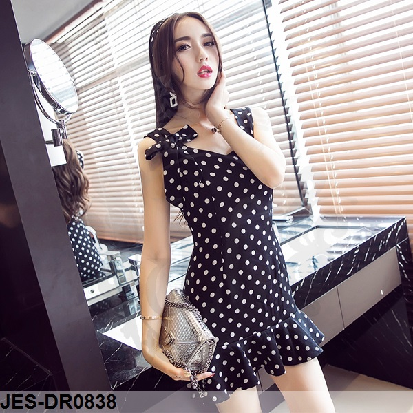 JES-DR0838 polkadots sexy dress import
