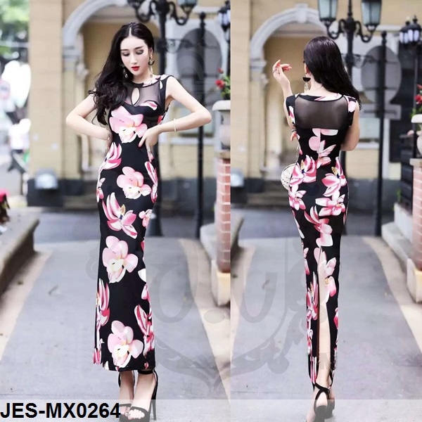 JES-MX0264 flower maxi dress import