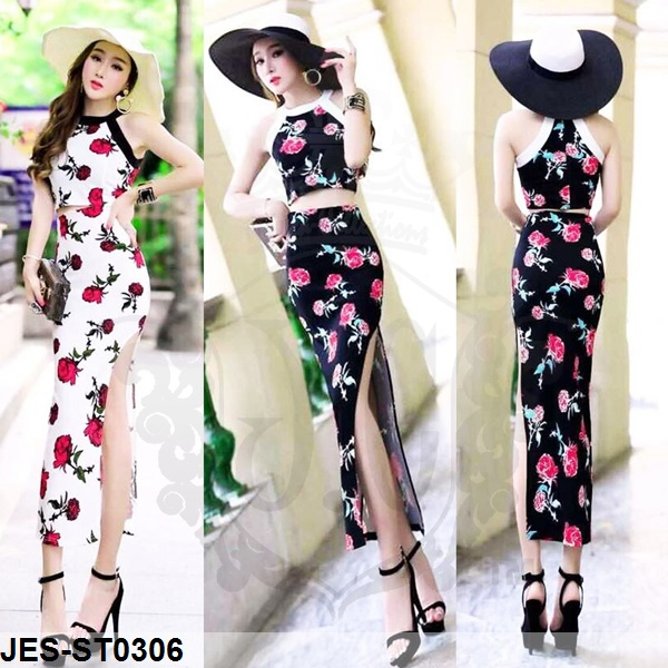 JES-ST0306 cropped top skirt suits